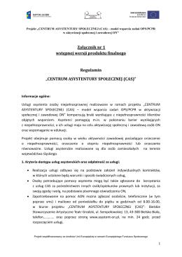 Załącznik nr 1 - Centrum Asystentury Społecznej (CAS)