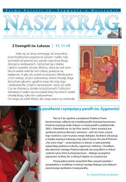 Drodzy parafianie i sympatycy parafii św. Zygmunta!