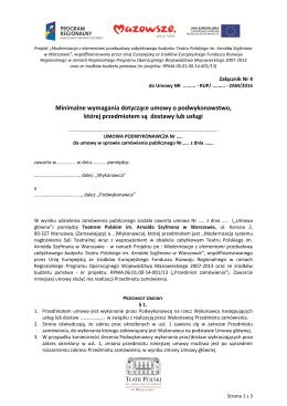 Minimalne wymagania dotyczące umowy o podwykonawstwo, której