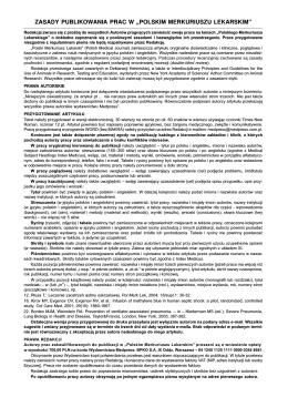 """zasady publikowania prac w """"polskim merkuriuszu"""