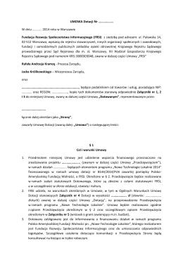 Umowa grantowa - Nowe Technologie Lokalnie