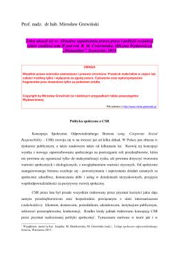 Pobierz artykuł - Prof. nadzw. dr hab. Mirosław GREWIŃSKI