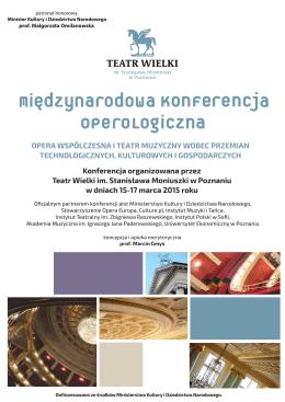 program konferencji - Teatr Wielki im. Stanisława Moniuszki w