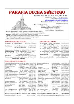 DUSZPASTERSTWO PARAFII - Holy Spirit Parish