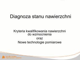 Diagnoza stanu nawierzchni – nowe technologie pomiarowe w