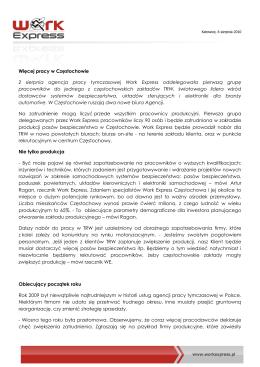 Więcej pracy w Częstochowie 2 sierpnia agencja