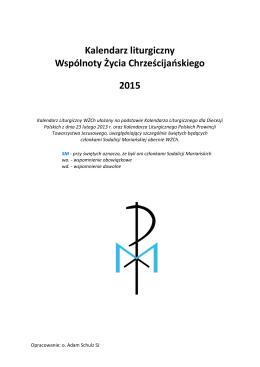 Kalendarz w formacie PDF - Wspólnota Życia Chrześcijańskiego