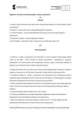 """Regulamin rekrutacji uczestników projektu """"Szkoły z przyszłością"""""""