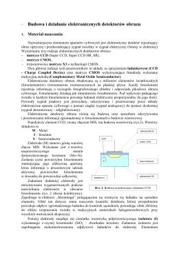 − Budowa i działanie elektronicznych detektorów obrazu