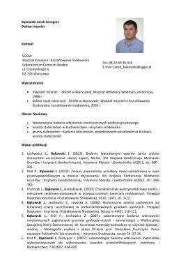 Bąkowski Jacek Grzegorz Doktor inżynier Kontakt SGGW Wydział