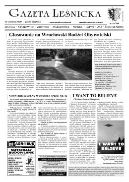 Gazeta Leśnicka, 12 września 2014