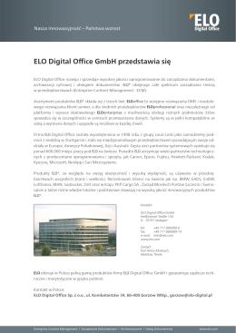 ELO Digital Office GmbH przedstawia się