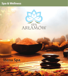 Menu Spa - Hotel Arłamów