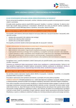 Opis udziału szkOły i przedszkOla w prOjekcie