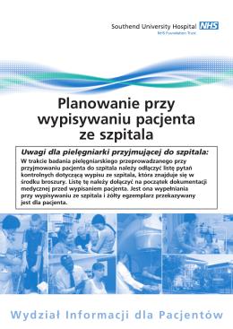 Planowanie przy wypisywaniu pacjenta ze szpitala