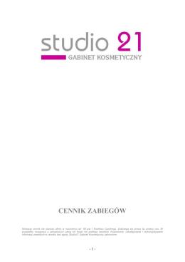 CENNIK ZABIEGÓW - Salon Kosmetyczny Studio 21