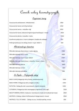 Cennik usług kosmetycznych [PDF]
