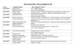Plan na ferie 2015r. ZPO w Kadzidle kl. I-III