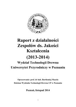 Raport z działalności Zespołów ds. Jakości Kształcenia