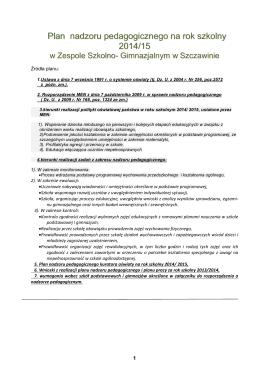 Plan nadzoru na rok szkolny 2013/14