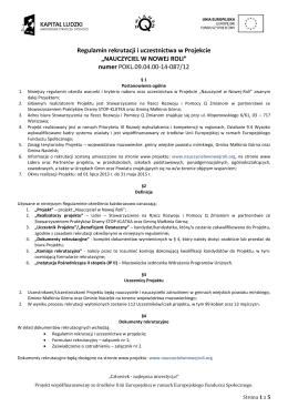 """Regulamin rekrutacji i uczestnictwa w Projekcie """"NAUCZYCIEL W"""
