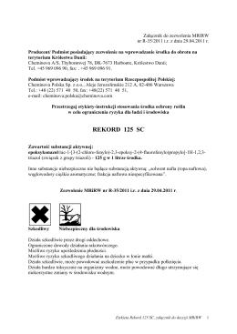 Etykieta Rekord 125 SC