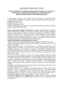 Zarząd PKS Częstochowa w Częstochowie S.A. ogłasza trzeci