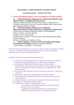 """Sprawozdanie z realizacji Programu """"Zrozumieć Autyzm"""" za"""