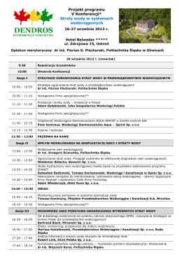 Projekt programu V Konferencji* Straty wody w systemach