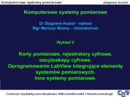 Karty pomiarowe, rejestratory cyfrowe, oscyloskopy cyfrowe