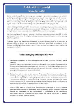 Kodeks dobrych praktyk sprzedaży AGD