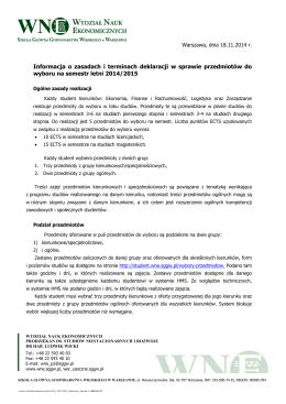 Informacja o zasadach i terminach deklaracji w sprawie