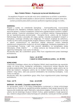 Rejs z Polskim Pilotem – Propozycja wycieczek fakultatywnych