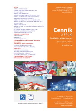 Cennik Usług - Pro-Medica w Ełku Sp. z oo