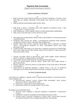 Regulamin Rady Uczniowskiej Zespołu Szkół Komunikacji w