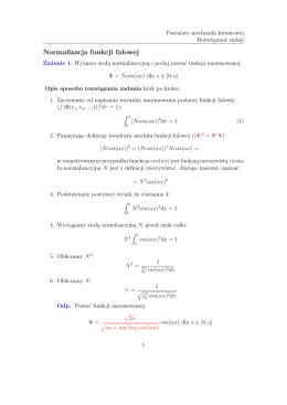 Normalizacja funkcji falowej