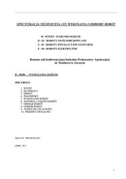 3. Specyfikacja Techniczna Wykonania i Odbioru Robót