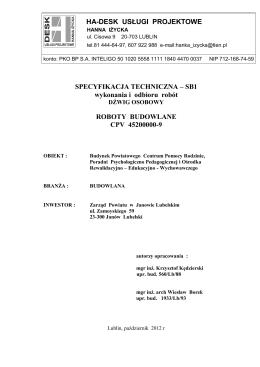 Specyfikacje techniczne wykonania i odbioru robót