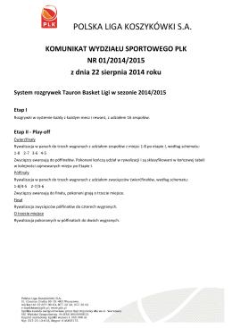 System rozgrywek i terminarz Tauron Basket Ligi 2014/2015