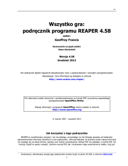 Wszystko gra: podręcznik programu REAPER 4.58
