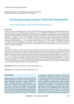 Ocena toksyczności osadów w Zbiorniku Włocławskim; Assessment