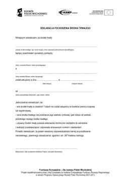 Deklaracja pochodzenia środka trwałego Data dodania