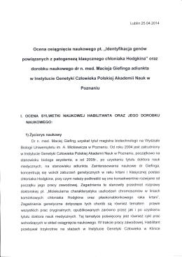 Recenzja nr 2 - INSTYTUT GENETYKI CZŁOWIEKA PAN w Poznaniu