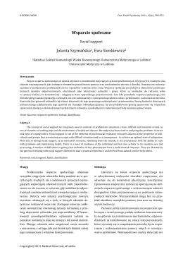 Wsparcie społeczne Jolanta Szymańska1, Ewa Sienkiewicz2
