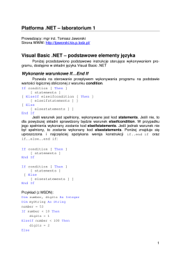 Platforma .NET – laboratorium 1 Visual Basic