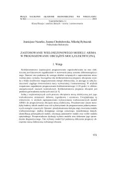 Zastosowanie wielosezonowego modelu ARIMA w prognozowaniu