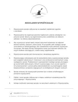 REGULAMIN WYPOŻYCZALNI - Weekend z KAJAKIZERKOW.PL