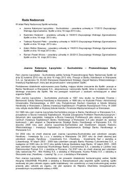 Rada Nadzorcza - Odlewnie Polskie SA