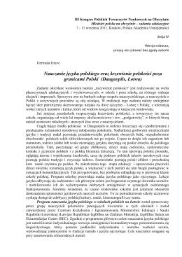 Nauczanie języka polskiego oraz krzewienie