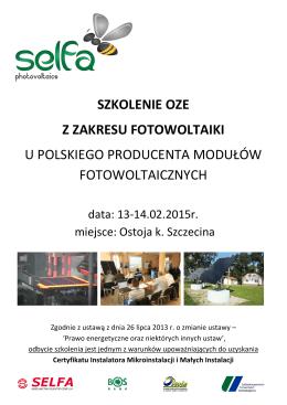 szkolenie oze z zakresu fotowoltaiki u polskiego - Selfa-PV